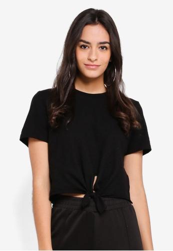 TOPSHOP black Knot Front T-Shirt 4F4B5AAD118A38GS_1