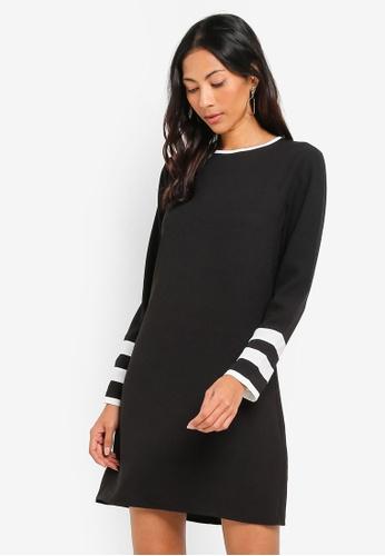 ZALORA BASICS black Basic Dress With Contrast Sleeves 34491AA2ABDE91GS_1