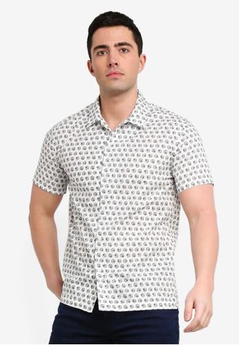 MANGO Man white Regular-Fit Printed Cotton Shirt 7A0E6AA6083E7DGS_1