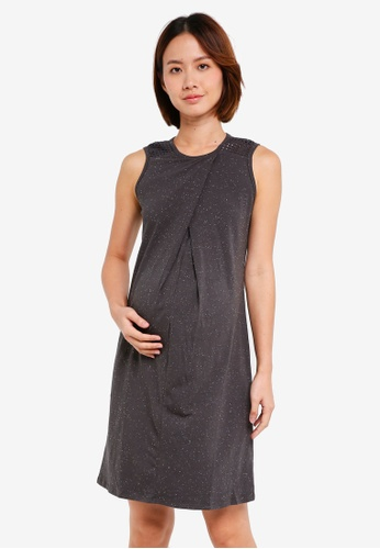 Spring Maternity grey Maternity Knitted Overlap Dress CBC3FAAAD559F3GS_1