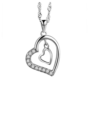 Glamorousky white Fashion 925 Sterling Silver Heart Pendant with White Austrian Elements Crystal and Necklace 041DCAC243CCB5GS_1