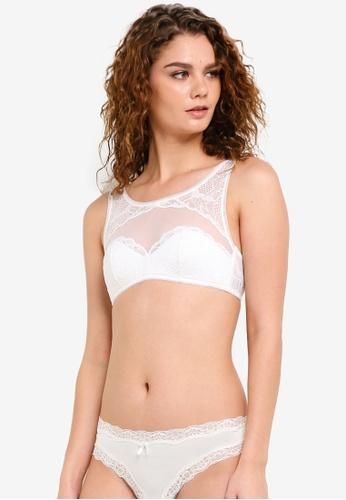 Calvin Klein white Linger Lightly Lined Bralette - Calvin Klein Underwear CA221US0RPA6MY_1
