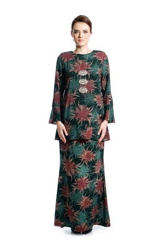 LARA NOUR green and multi Baju Kurung Aiza 78A96AACFA91BEGS_1