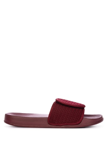 Penshoppe red Textured Knit Sliders 50717SHFCB9389GS_1