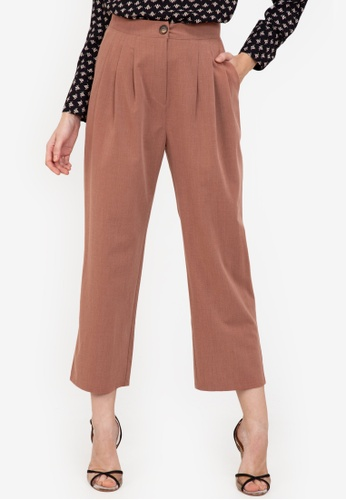 ZALORA WORK brown Pleated Pants 5C193AA21DE248GS_1