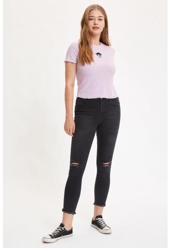 DeFacto black High Waist Ripped Super Skinny Jeans CBC3AAA9EBA9E2GS_1