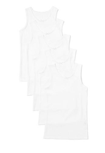 MARKS & SPENCER white 5 Pack Pure Cotton Vests BDA14KAC82A11BGS_1