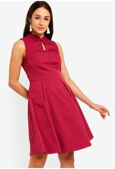 3c53898131 ZALORA red Mandarin Collar Fit And Flare Lace Insert Dress  34CD2AA4EAFA70GS 1