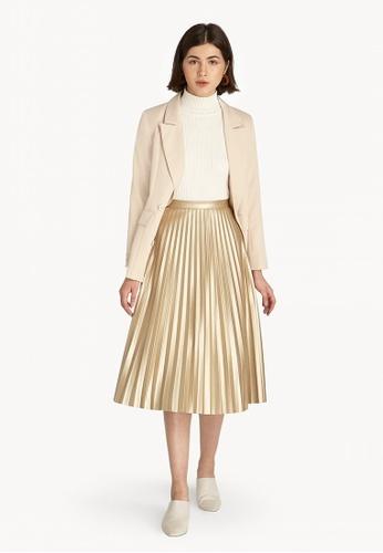 0272dd8c0c Buy Pomelo Metallic Pleat Skirt - Gold Online on ZALORA Singapore