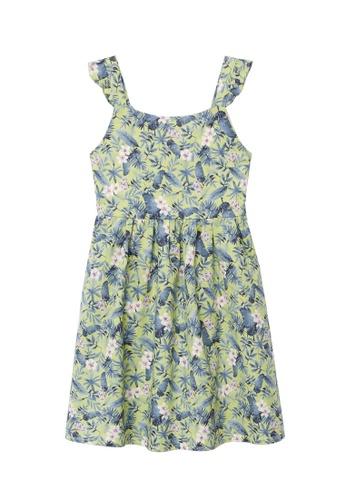MANGO KIDS yellow Printed Cotton Linen Dress 775D6KAD722A44GS_1