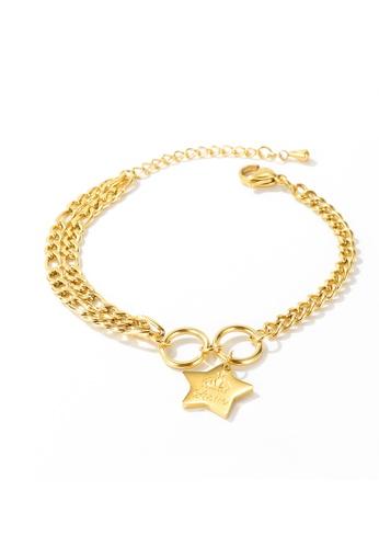 CELOVIS gold CELOVIS - Rockstar Queen Love Star Pendant Bracelet in Gold 7FD2CACAC53562GS_1