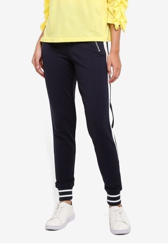 ONLY navy ONLY ONE Sporty Pop Stripe Rib Ankle Pants B81A4AAF3E0331GS_1