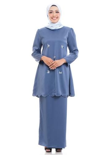 Ashura blue Izma Scallop Trim Kurung 837F6AACF2F0B1GS_1