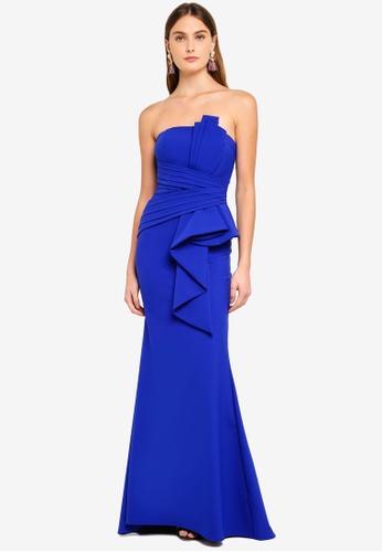 Goddiva blue Fan Pleated Boob Tube Maxi Dress 55E63AAB747552GS_1
