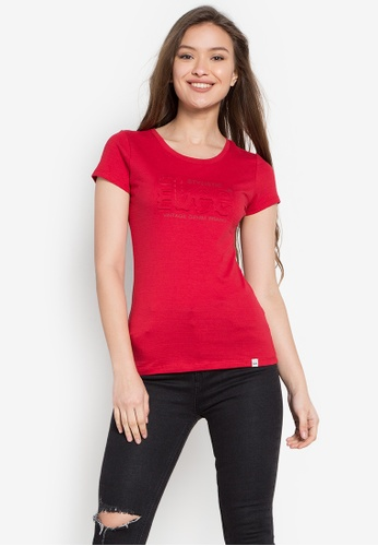 Stylistic Mr. Lee red Round Neck Embossed Tee MR206AA0KEUGPH_1