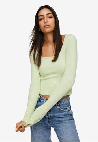 Mango green Textured Knit Sweater 1292BAAC505701GS_1