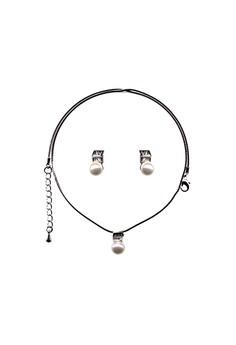 Paris Bijoux ST14011A Set Necklace + Earring - Crystal/ Acrylic Pearl
