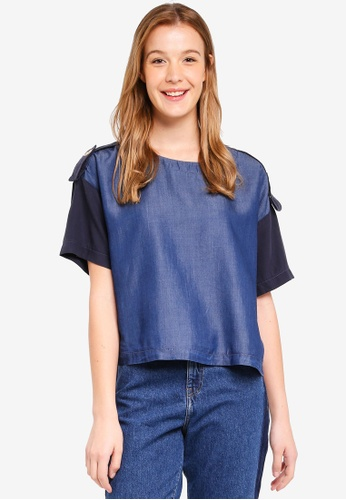ESPRIT blue Short Sleeve Denim Blouse 2CCF3AA6689FA3GS_1