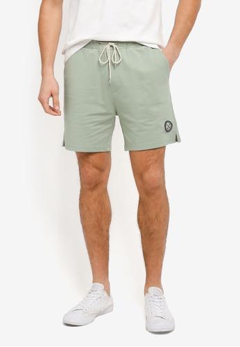 JAXON green Washed Colour Terry Shorts F46D0AA8E5F53AGS_1