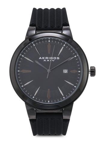Akribos XXIV black Black Soft Silicone Watch 62609AC55F2B65GS_1