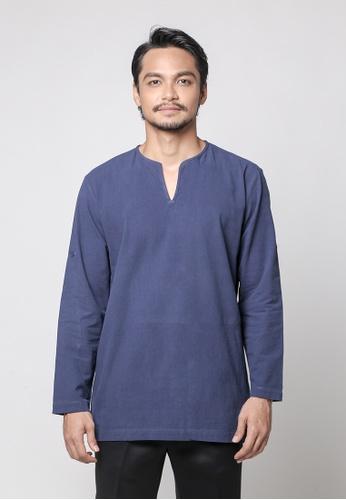 Kylez by Syafiq  Kyle blue Haidar Modern Kurta in Dark Blue 34291AACD77516GS_1