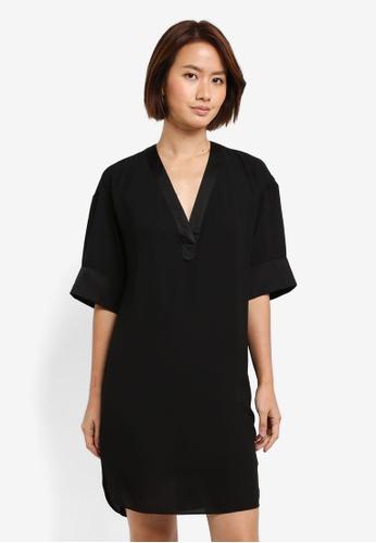 WAREHOUSE black Satin Mix Dress 6720FAA452BCBFGS_1