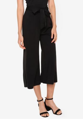 ZALORA BASICS black Tie Waist Culottes 9B633AA9134988GS_1