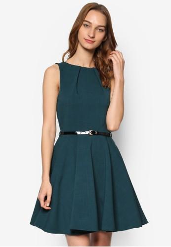 腰帶飾起褶無袖連身裙,esprit招聘 服飾, 洋裝