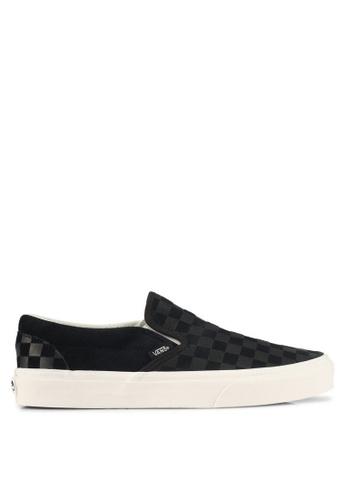 VANS black and grey Slip-On Checker Emboss VA142SH0SWPMMY_1