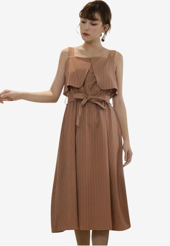 Tokichoi brown Striped Tie Belt Pinafore Dress 6EF27AA314C7C5GS_1