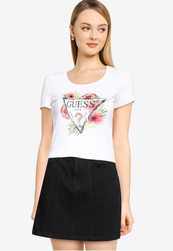 GUESS white Short Sleeve Rebecca Tee 76F26AA1F05BEBGS_1