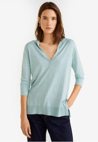Mango blue Fine-Knit Polo Shirt DA3E1AAF1E322FGS_1