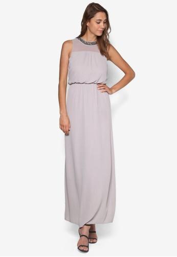 項鍊腰飾長洋裝, 服zalora taiwan 時尚購物網飾, 燦色奪目