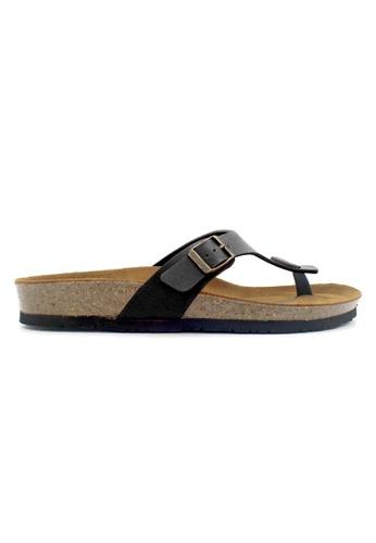 SoleSimple 黑色 Prague - 黑色 百搭/搭帶 全皮軟木涼鞋 04DECSH7158C25GS_1