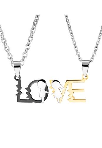 Trendyshop black and gold LOVE Couples Pendant Necklace Set 45C3BAC126E95BGS_1
