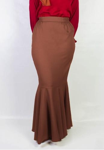Zaryluq brown Fishtale Skirt in Macchiato FBF68AA3CF8C4EGS_1