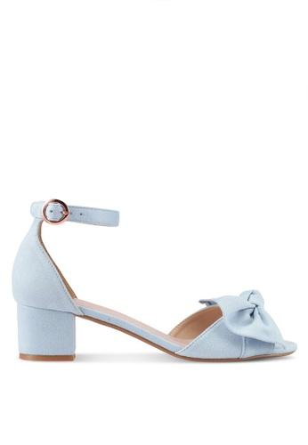 Velvet 藍色 繞踝蝴蝶結粗跟涼鞋 3BDB4SH6BE9C58GS_1