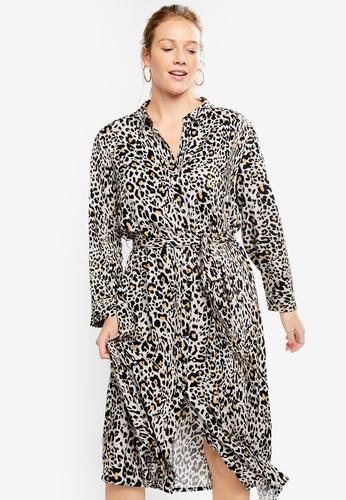 dacd713bc8f8 Violeta by MANGO black Plus Size Animal Print Shirt Dress F0679AAD7B5CD3GS_1
