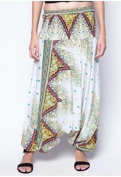 Peacock Feather Convertible Jumpsuit Harem Pants