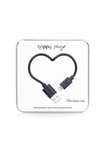 happy plugs black Happy Plugs Lightning to USB Charge/Sync Cable (2.0m) - Black A6CF9AC4F3271EGS_1