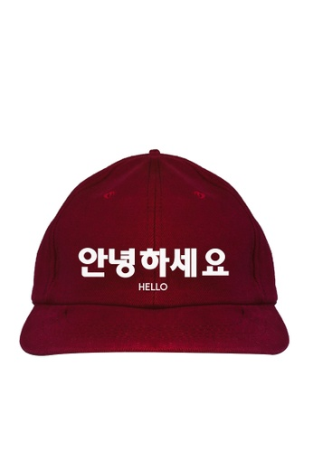 HYPE MNL red Korean Tee Hello Baseball Cap AEB02AC00A8DBCGS_1