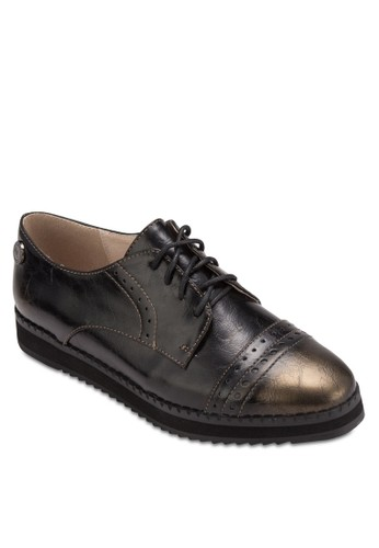 Derbies 雕花繫帶厚底皮鞋, 女鞋, esprit女裝鞋