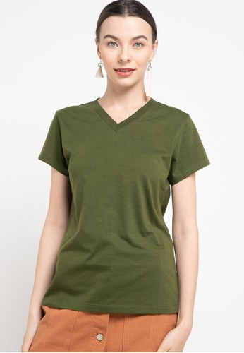 Tolliver green V Neck Basic Short Sleeve Tee C9EDBAA9EA0138GS_1