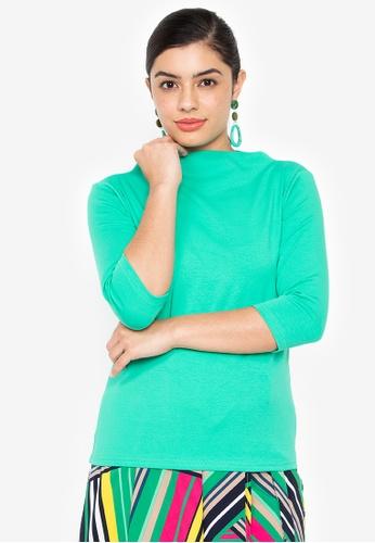Wear Kris green Kingpin High Neck Rib Knit Top With Elbow Sleeves E251FAAB80F3B3GS_1