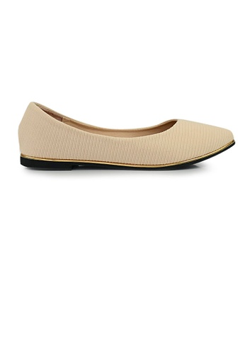 SHINE beige SHINE Point Toe Corduroy Textured Ballerina 82041SH5850250GS_1
