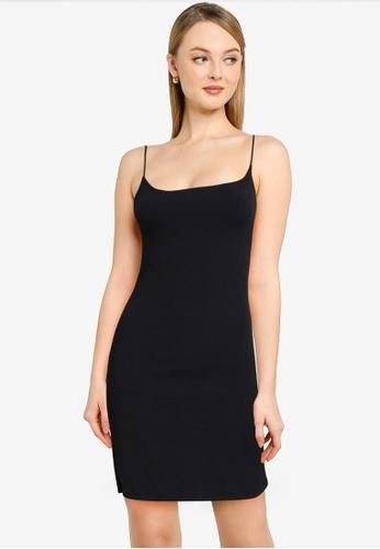ABERCROMBIE & FITCH black Chase Seamless Rib Slip Mini Dress 40405AA6E4B596GS_1