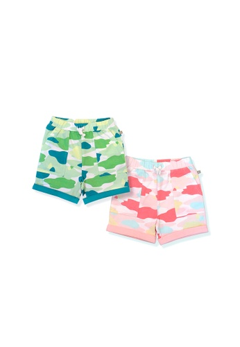 OETEO pink and green and multi Camo Flash Toddler Casual Shorts 2-Piece Bundle (Pink/Green) 52556KADD7F8F1GS_1