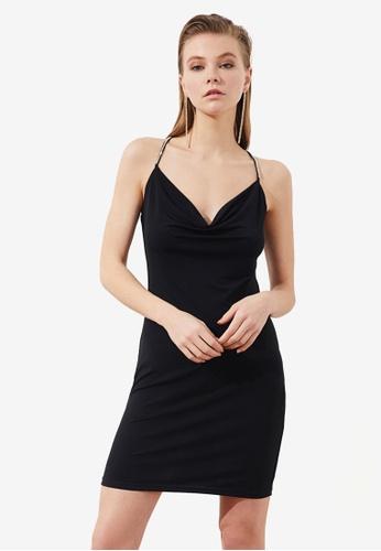 Trendyol black Cowl Halter Neck Dress 45E63AA7CFB2B4GS_1