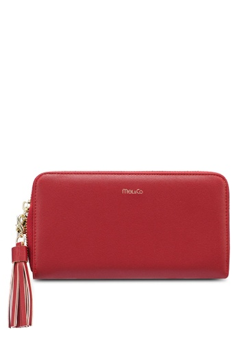 Mel&Co red Faux Leather Long Wallet 5F73EAC1B5B7DFGS_1