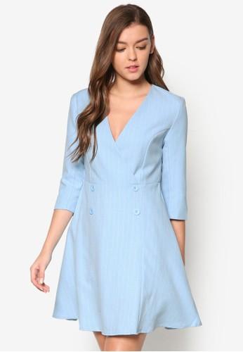 V 領esprit outlet 香港雙排鈕條紋連身裙, 服飾, 洋裝